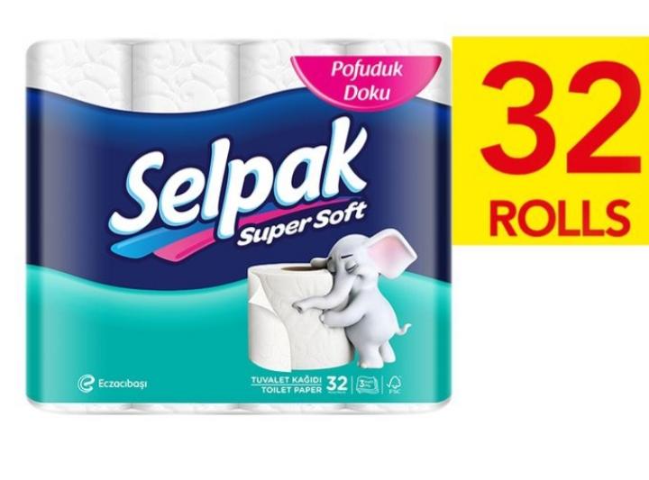Papier toilette 3 plis 32 Unités Selpak Super Soft